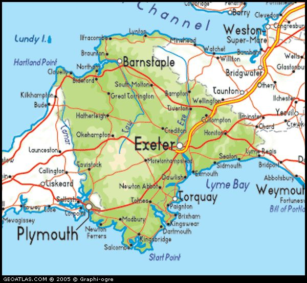 Map of Devon, UK  Google Image.Paighton, Devon, England where my 11th gr-grandfather, Deacon Samuel Chapin was born.