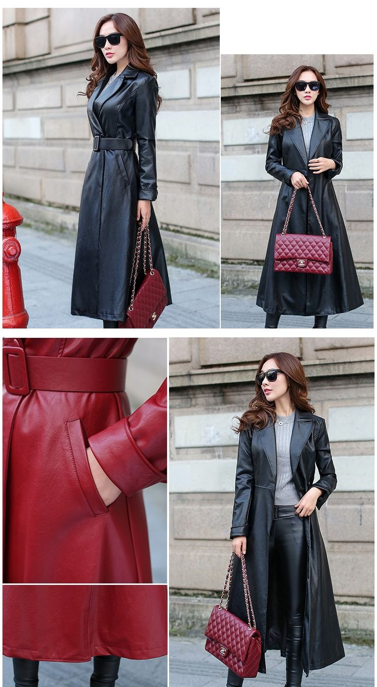 Женские кожаные куртки и пальто 2015 европа Новый стиль мода долго кожаная куртка тонкий верхняя одежда осень и зимнее пальто GA0225 купить на AliExpress