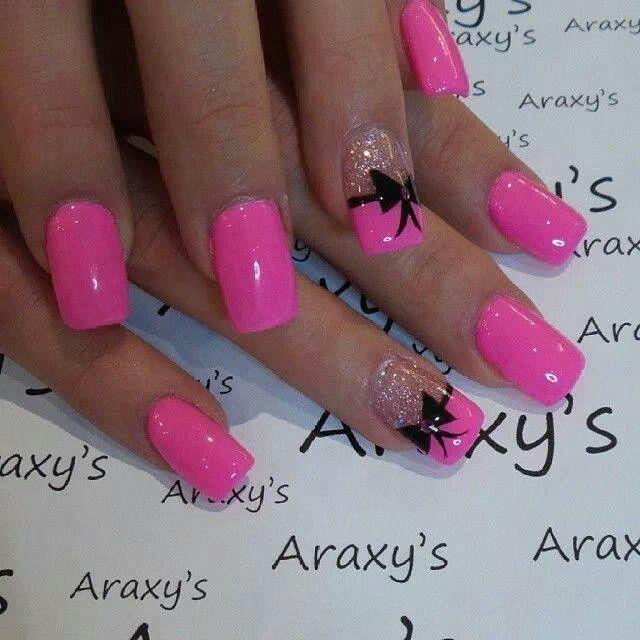 40 Classy Black Nail Art Designs For Hot Women: Pretty. Pink. Black Bow. Glitter!