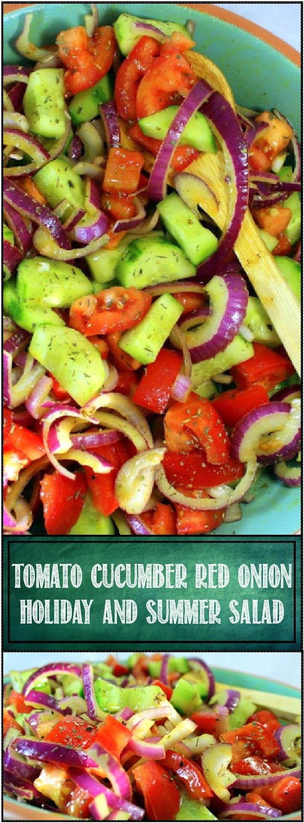 Inspired By eRecipeCards: Tomato - Cucumber - Red Onion Holiday Salad in a Fresh Made Honey Mustard Vinaigrette - 52 Specialty Salads