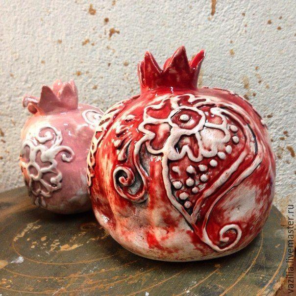 """Купить Ваза """"Гранат"""" - коралловый, гранат, ваза, скульптура, арт-объект, Керамика, восток, пейсли"""