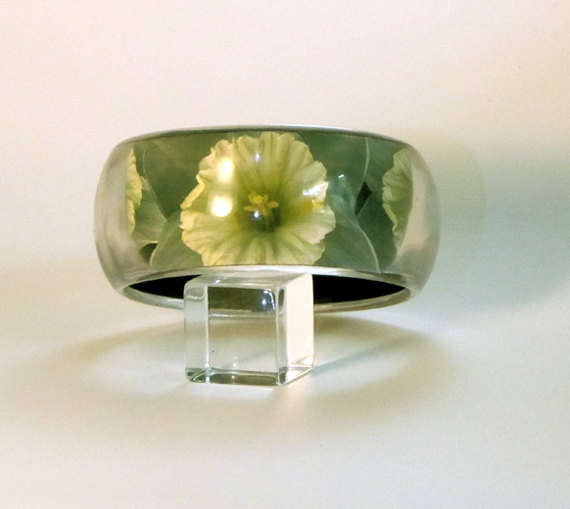 Narcissus Daffodil Flower Picture Bangle Hand by HeronsFeathers, $72.00