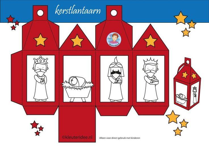 Lantaarn kerst rood, wijzen uit het Oosten, kleuteridee.nl, free printable.
