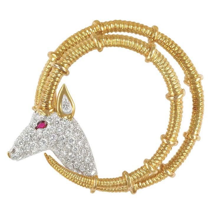 Gold, Platinum, Diamond and Ruby 'Ibex' Brooch, Tiffany & Co., Schlumberger