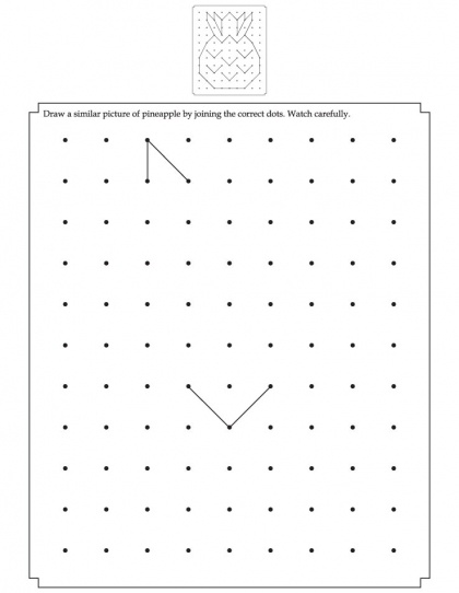 Draw a similar pineapple by joining the correct dots | Download Free Draw a similar pineapple by joining the correct dots for kids | Best Coloring Pages