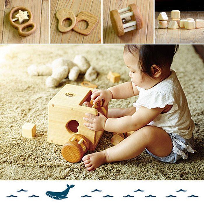 4c608f3ba6532 楽天市場 木のおもちゃ 赤ちゃんのおもちゃセット(箱入り 名入れ可能 ...