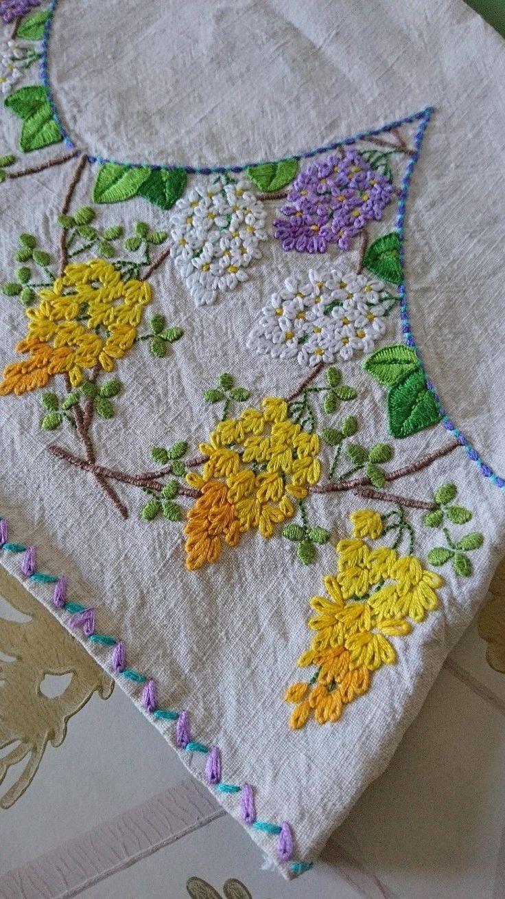 Винтажный ручной вышивкой чай уютный горшок обложка лен цветок сиреневый золото-изысканная!   eBay