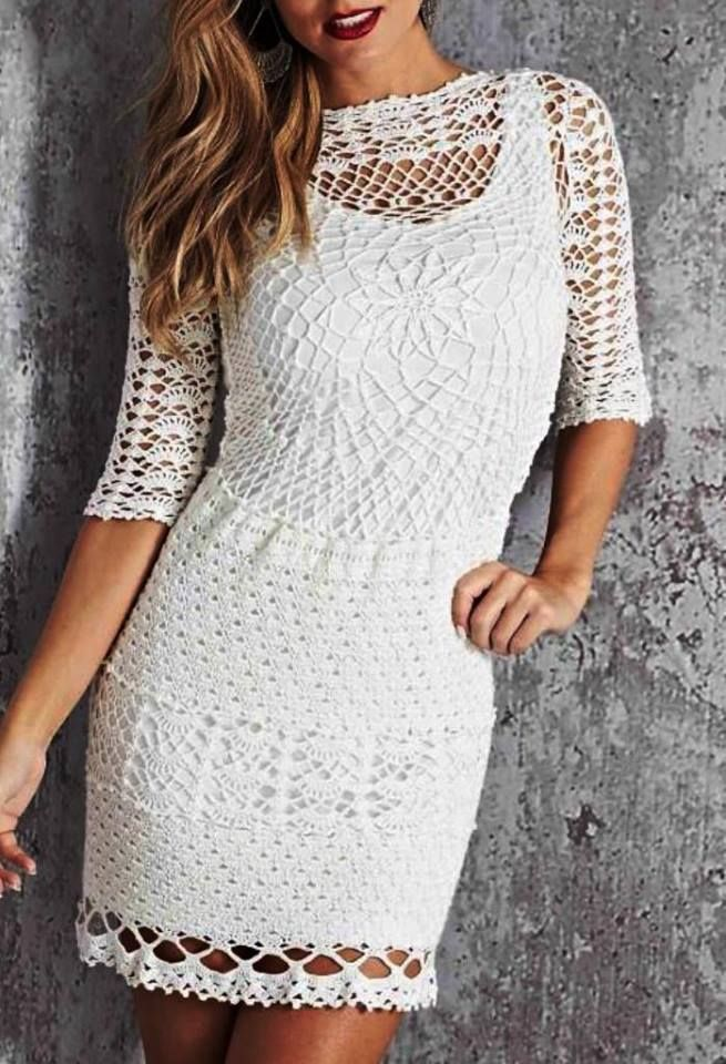 119 best VESTIDOS CROCHET images on Pinterest | Vestidos de ...