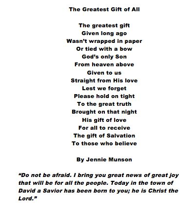 The Greatest Gift. A Christmas Poem.