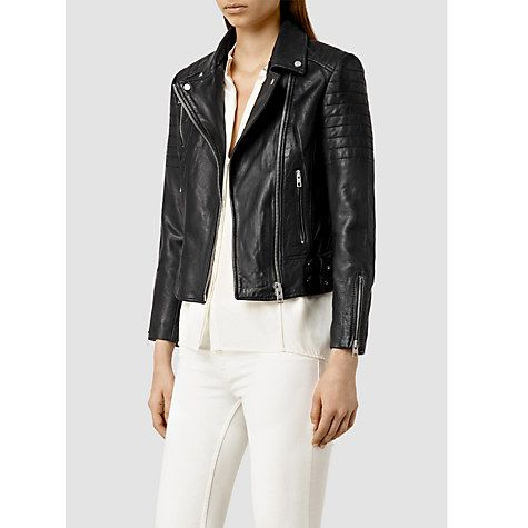 Buy AllSaints Papin Leather Biker Jacket, Black Online at johnlewis.com