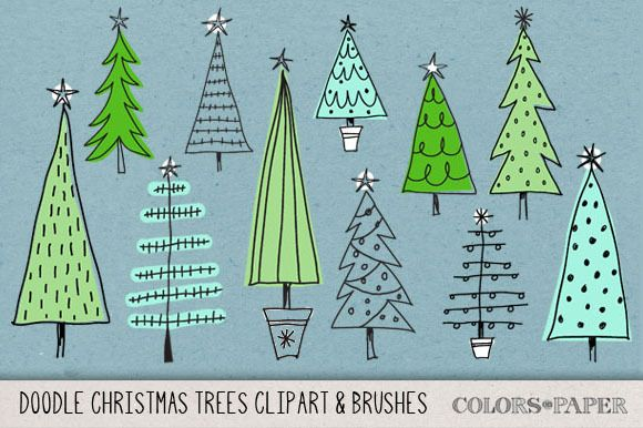 Check out Hand Drawn Christmas Trees Clipart by Colors on Paper on Creative Market