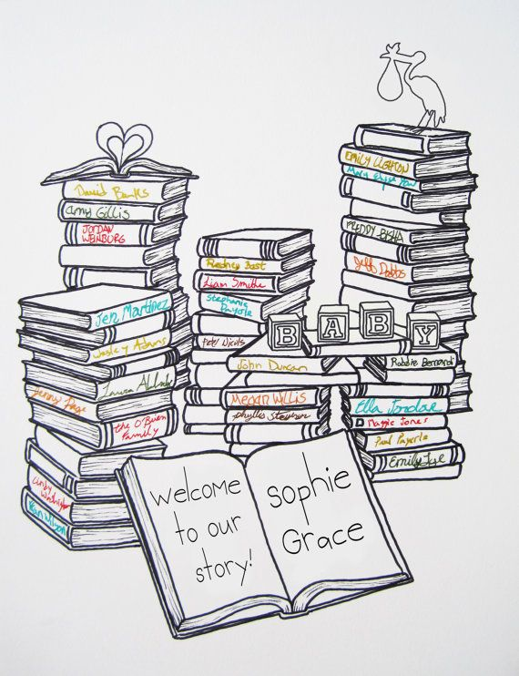 Book Themed Baby Shower Guestbook for 15-40 guests via Etsy