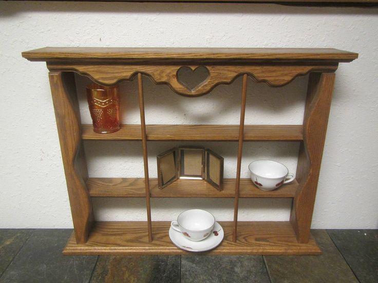 Oak 3 tier shelf, knick knack shelf , collectibles shelf , shadow box shelf , cup shelf by mauryscollectibles on Etsy