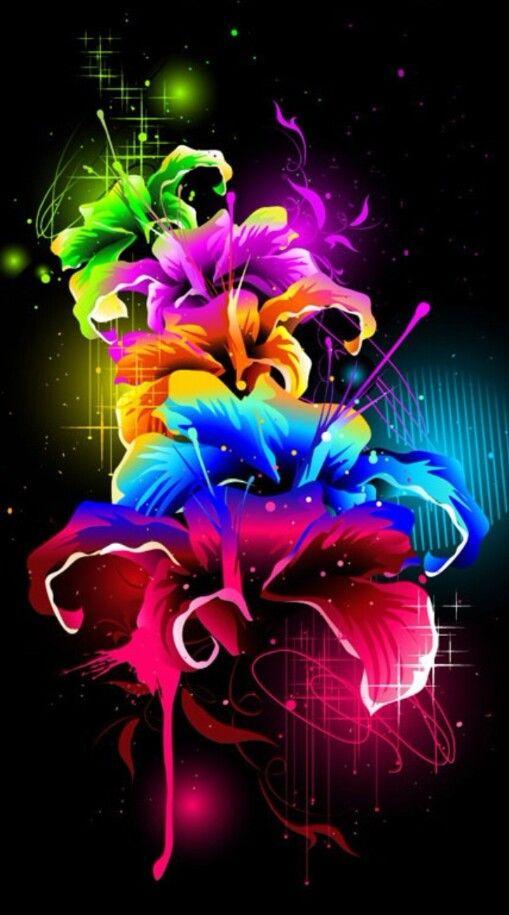 где картинки на черном фоне с яркими цветами ночью