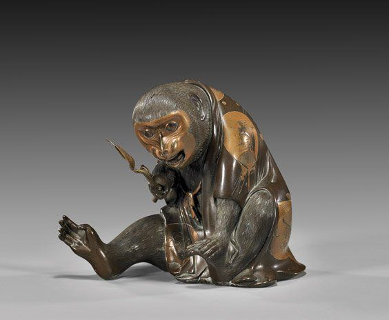 japanese okimono | 194: ANTIQUE JAPANESE BRONZE OKIMONO: Monkey : Lot 194