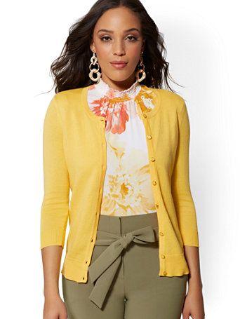 1570660ccde Shop Enamel-Button Chelsea Crewneck Cardigan - 7th Avenue. Find your  perfect size online