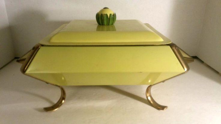 Vintage Mid-Century 1960s Fire King Yellow Flower Casserole Warmer/Chafer