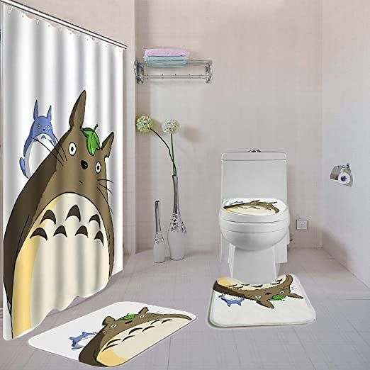 Hydfu White Shower Curtain 4 Piece Sets Non Slip Rugs Toilet Lid