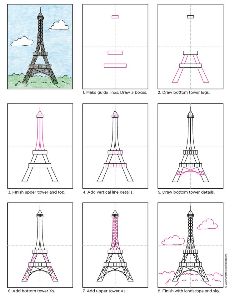 draw the eiffel tower free pdf tutorial howtodraw directdraw eiffeltower by - Kids Free Drawing