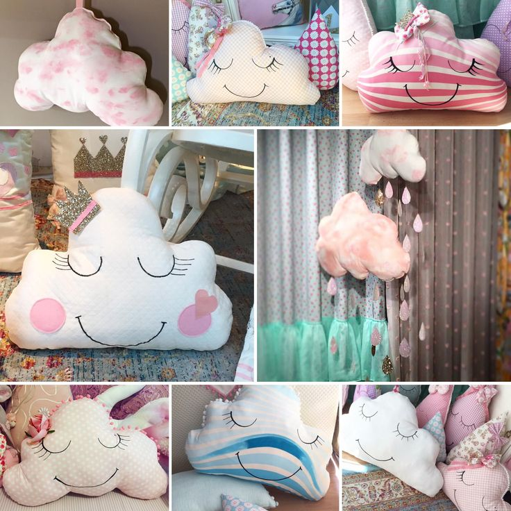 #handmade #handpainted #decorative #pillows #cushions #clouds #happyfaces