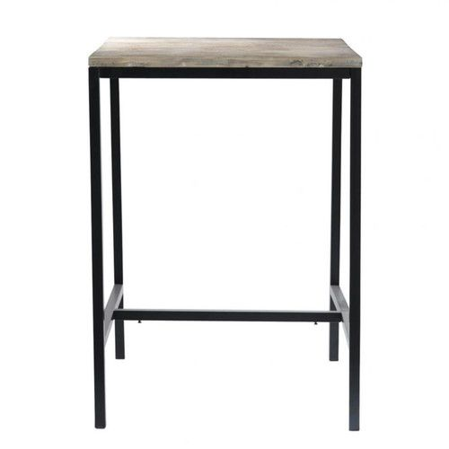 Table de salle à manger haute indus en bois massif et métal L 75 cm
