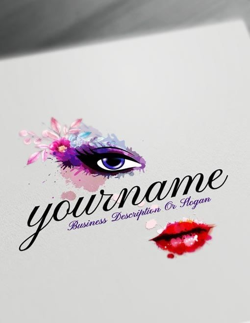 Make Your Own Sexy face Logo with Free watercolor makeup