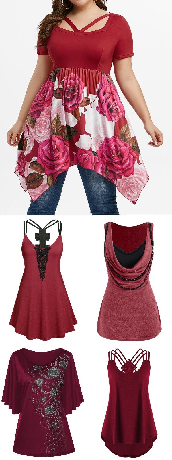Rosegal plus size red tops, fashion 2020 casual t-shirt ...