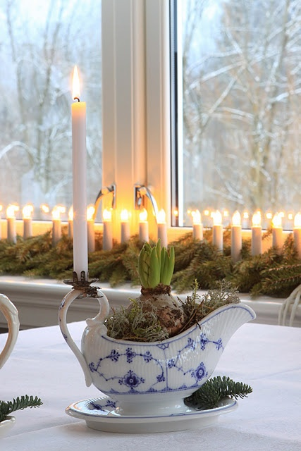 Christmas hyacinth - classic blue white gravy boat with clip-on Candle holder. Repinned by www.mygrowingtraditions.com