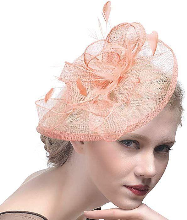 Bridal Fascinator Hat Wedding Headwear Mesh Hair Clip Hat Party Fascinator  at Amazon Women s Clothing store   e4b352cd5df