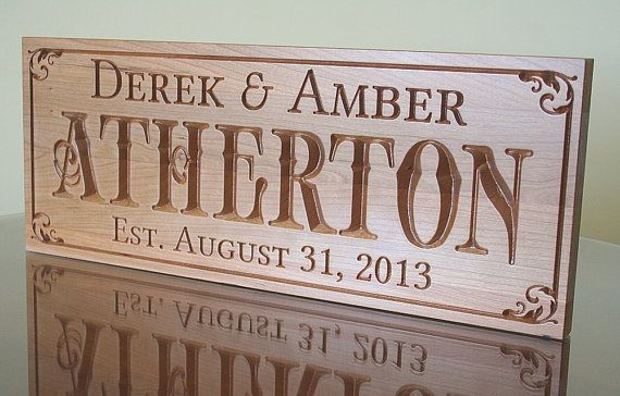 Carved Wood Sign: Anniversary Wood Sign Pub Sign Established Date Engagement Gift Last Name Sign Personalized Signs Cherry 7x18 BN