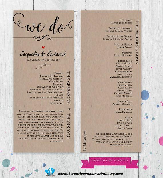 22 best DIY Wedding Program Templates images on Pinterest - wedding program template