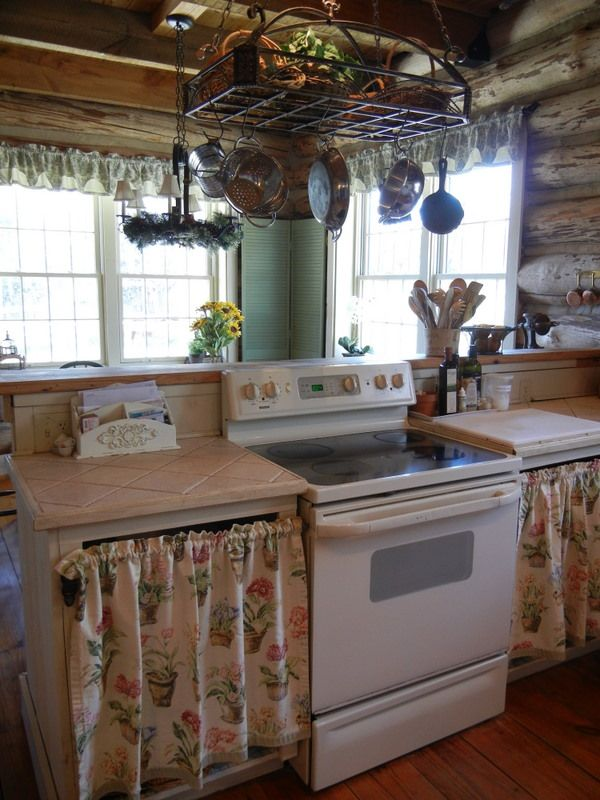 Love The Pot Hanger Above Stove And The Curtain Covered Cabinets