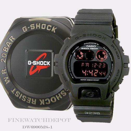 Authentic Casio G-Shock Mens Military Concept Black Digital Watch DW6900MS-1