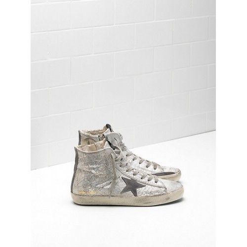 Scarpe Sconto Golden Goose Francy Donna GGDB Sneakers Grigio Argento Saldi