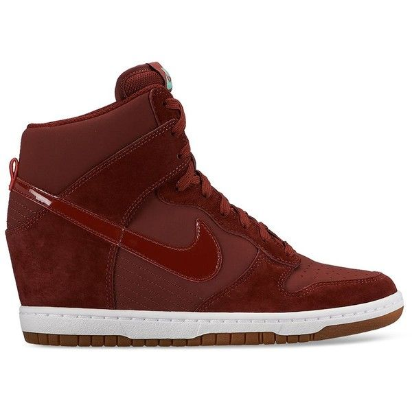 Nike Lace Up High Top Wedge Sneakers - Women's Dunk Sky Hi Embossed ($120) ❤ liked on Polyvore featuring shoes, sneakers, burgundy, high top shoes, wedge heel sneakers, nike footwear, wedge sneakers and wedge sneaker shoes