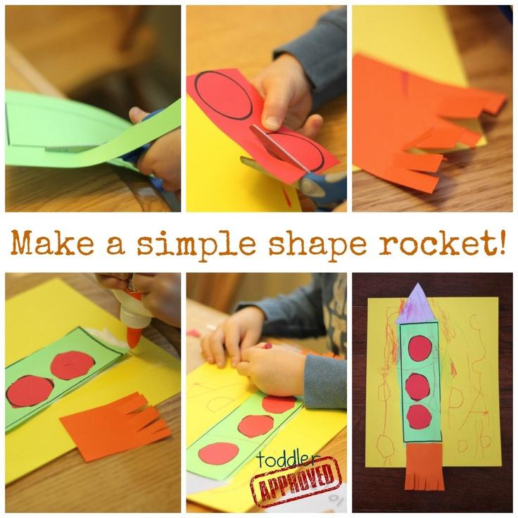 Toddler Approved!: Shape Rockets- Back to School BasicsIdeas, Back To Schools, Toddlers Approved, Schools Basic, Kinder Activities, Fine Motors Skills, Kids Crafts, Shape Rocket, Preschool