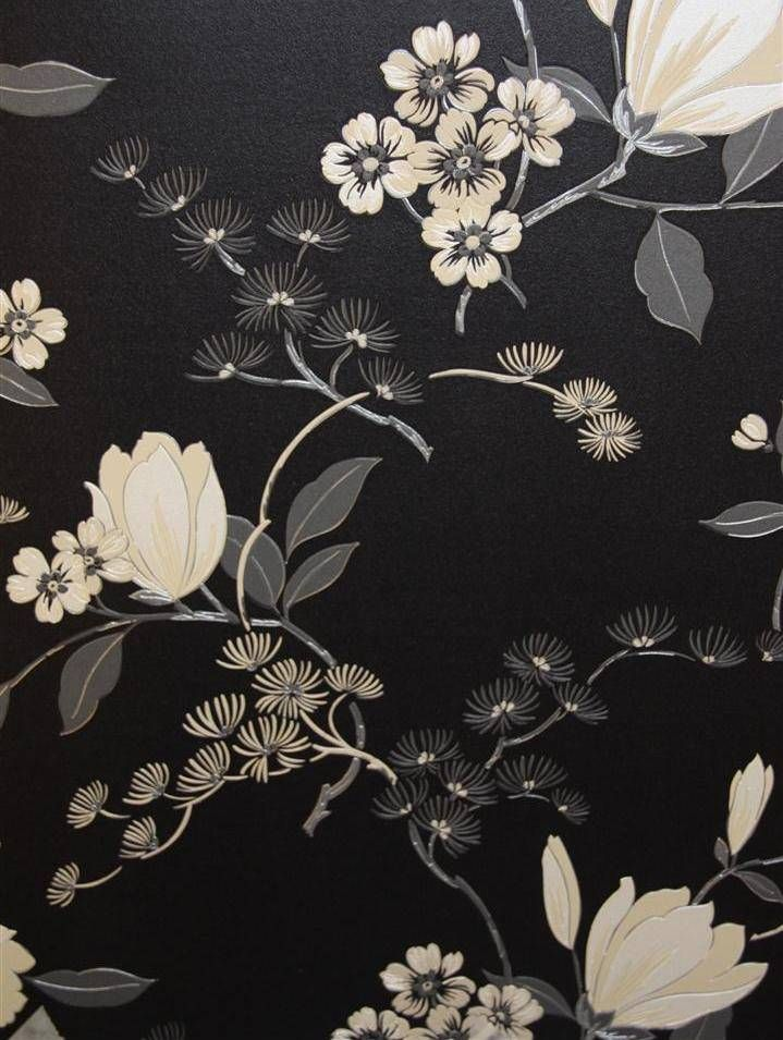Black floral oriental cushion vinyl wallpaper 822526 for Black and grey wallpaper designs