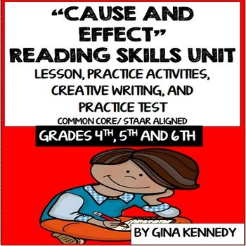 A thorough review of the important reading text structure skill, cause and effect. Excellent for introducing this concept, as a review, or as a reading intervention. Students will identify the cause and effect of passages and  paragraphs. A bonus cause and effect creative writing activity and a cause and effect practice test are also included.