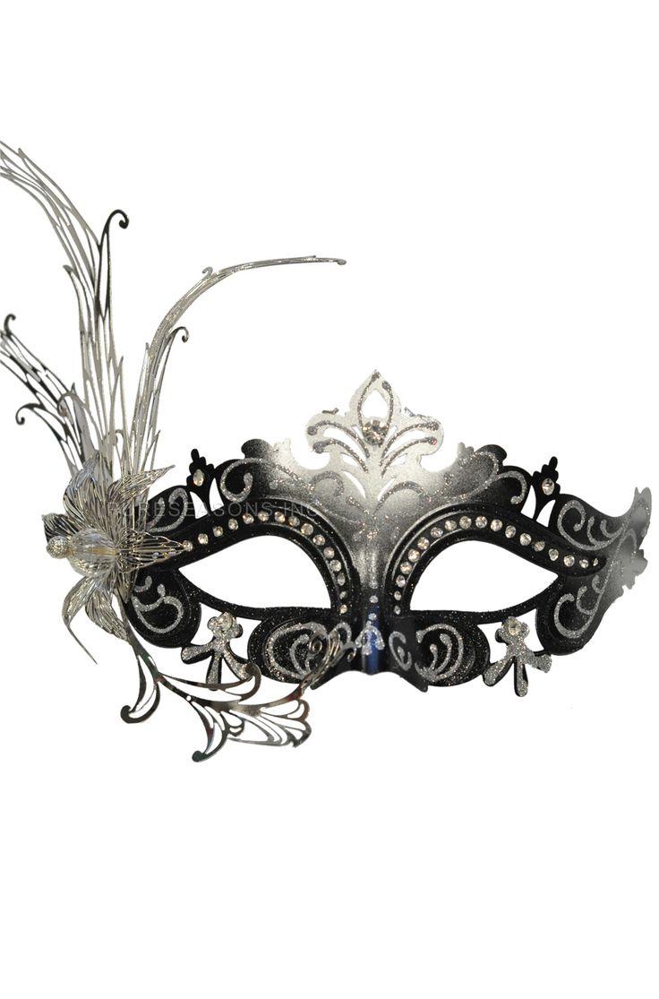 Farfalla Fiore Masquerade Mask (Black/Silver)
