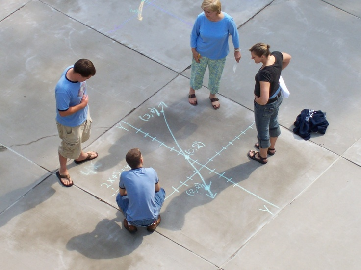 Fun with Math--graphing with transformations. Good idea for getting out of the classroom. Have students take pictures of their new transformations as they go through the mapping principles