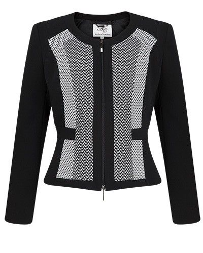 Anthea Crawford Australia Black & Ivory Panel Zip Front Jacket