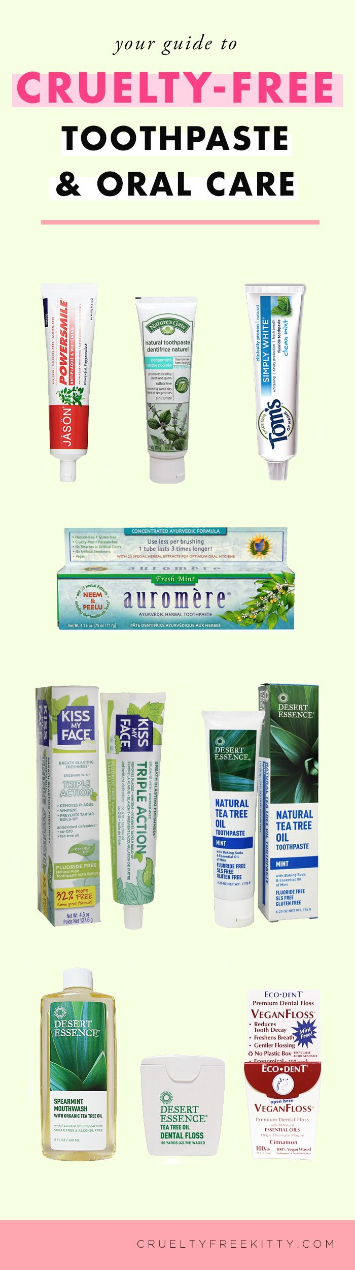 Great cruelty-free options for toothpaste and dental care.