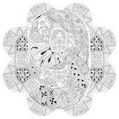 Mandala con el numero nueve para colorear. Zentangle decorativo Vector Vectores De Stock Sin Royalties Gratis