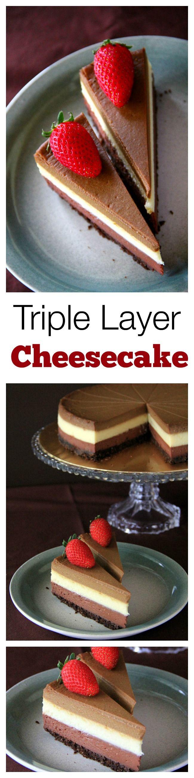 Triple Layer Cheesecake – the BEST, creamiest, richest cheesecake you'll ever make, in dark chocolate, white chocolate & Kahlua coffee flavor | rasamalaysia.com