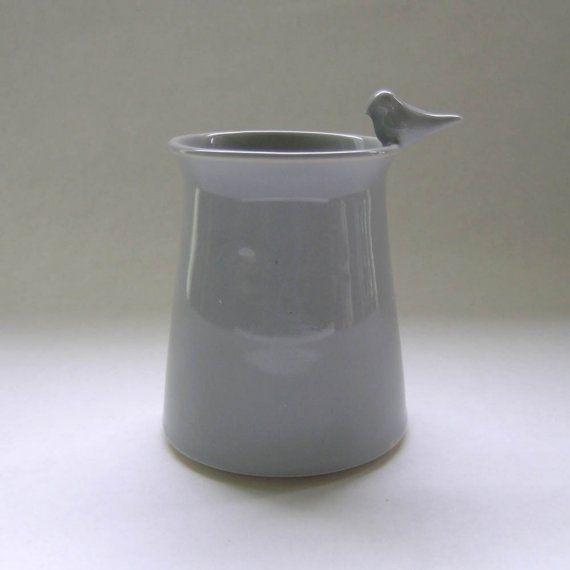 whitneysmith Ceramic Vase with Bird in French Grey