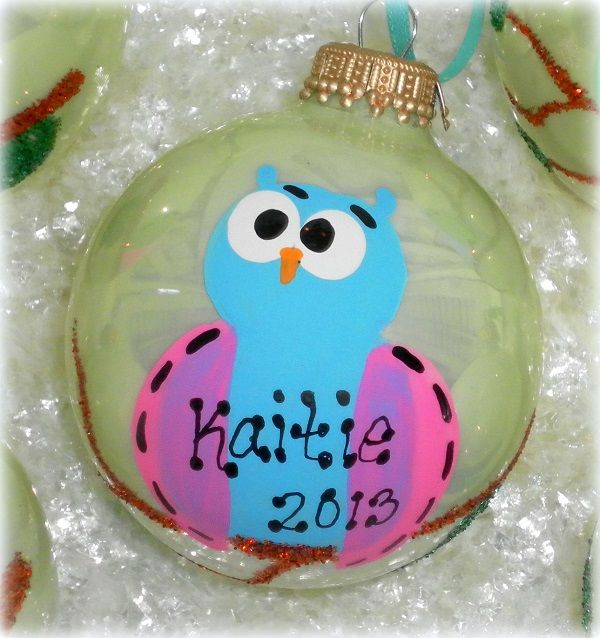 Whimsical Personalized Hand Painted Owl Christmas Tree Ornament
