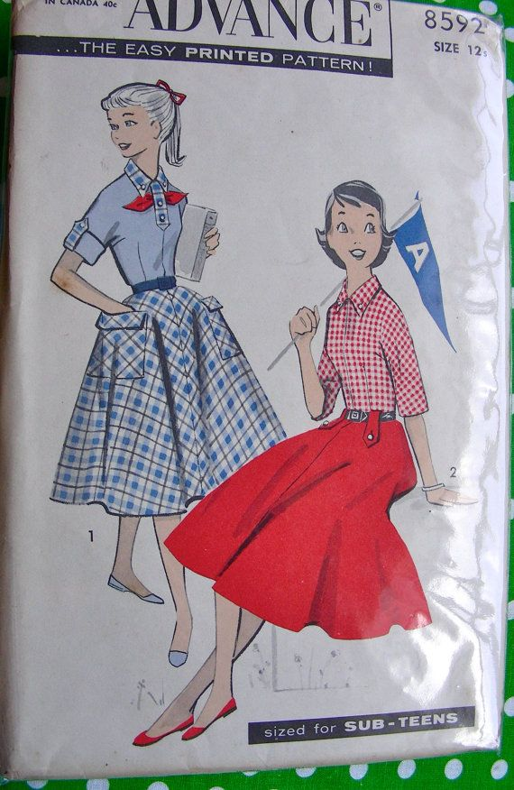 UNCUT * 1950s Vintage Advance  Pattern 8592  -  ADORABLE  Girls Sub Teen Skirt and Blouse - Bust 31