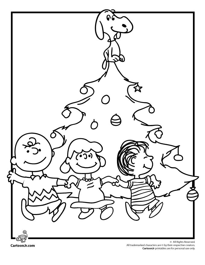 A Charlie Brown Christmas Coloring Pages Charlie Brown Christmas Tree Coloring Page with Snoopy, Lucy and Linus – Cartoon Jr.