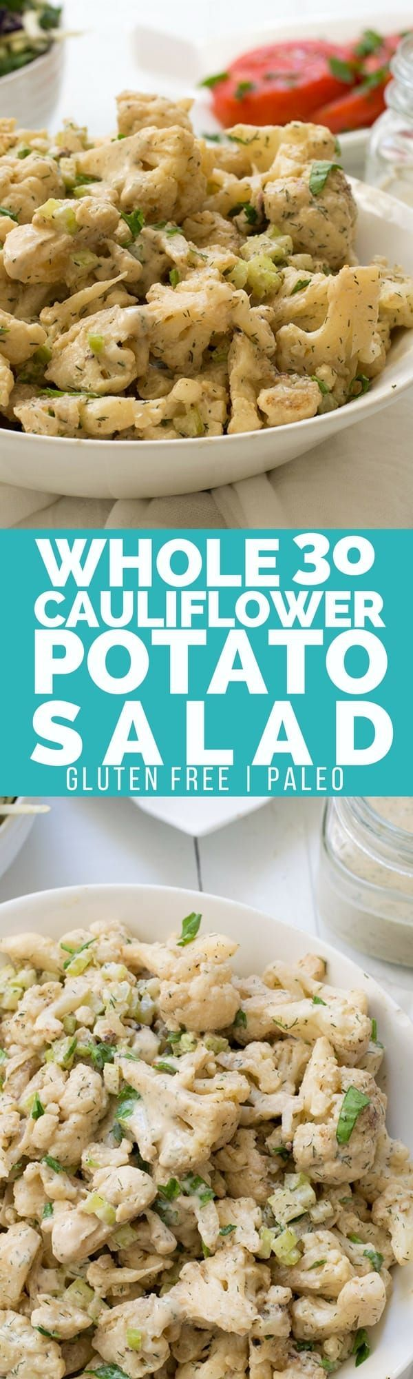 Creamy, tangy Whole30 cauliflower potato salad is the perfect side dish. #Paleo #vegan #whole30  | www.bitesofwellness.com