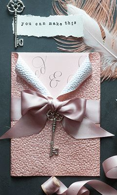 106 best embossed papers images on pinterest wedding tips diy embossed wedding invitation in blush pink luxury diy wedding invitation with key and bow junglespirit